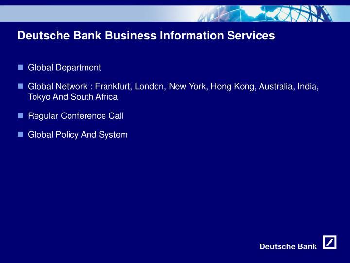 Deutsche Bank Business Information Services