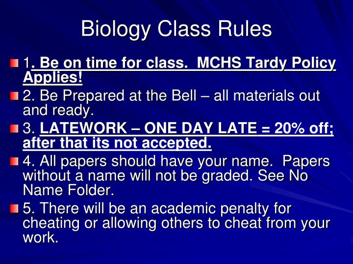 Biology Class Rules