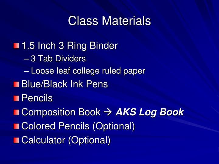 Class Materials