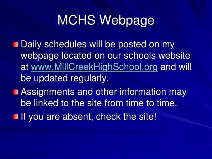 MCHS Webpage