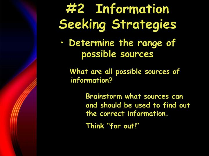 #2  Information Seeking Strategies