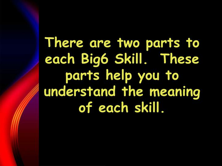 There are two parts to each Big6 Skill.  These parts help you to understand the meaning of each skill.