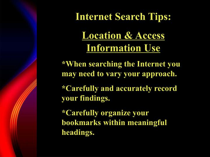 Internet Search Tips: