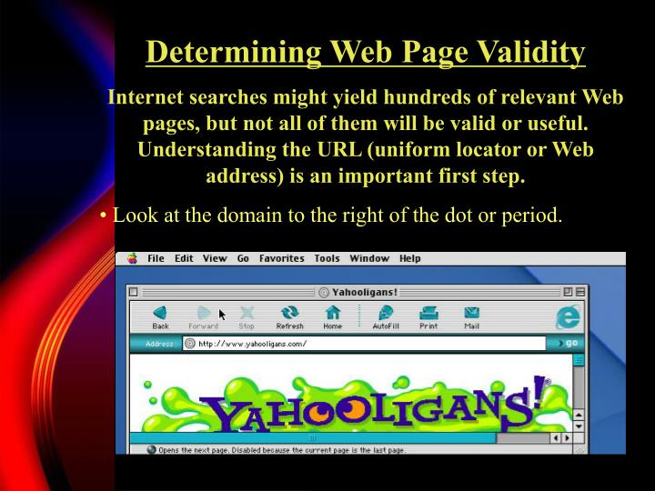 Determining Web Page Validity