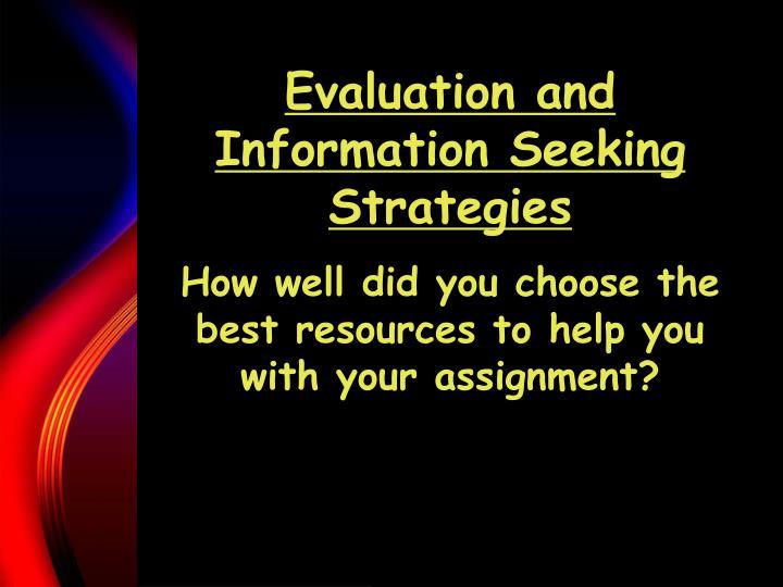 Evaluation and Information Seeking Strategies