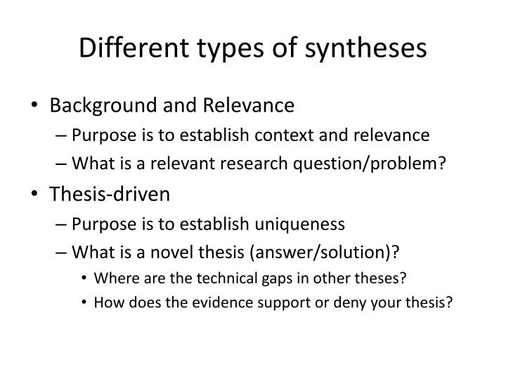 Different types of syntheses