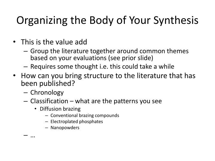 Organizing the Body of Your Synthesis