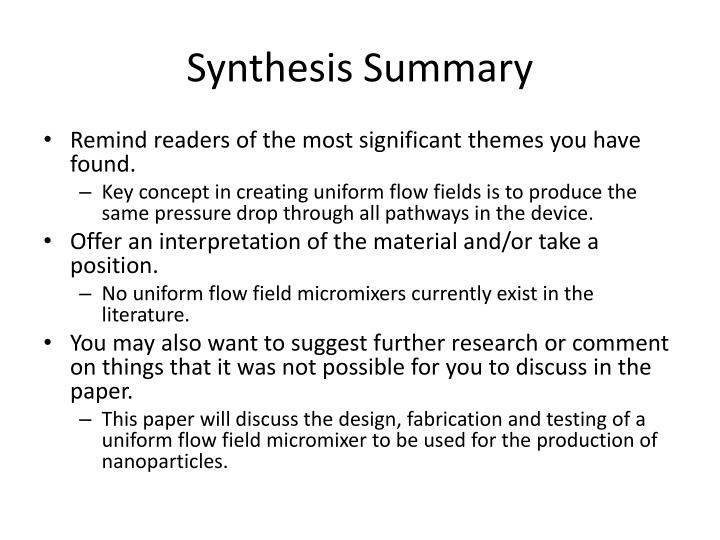 Synthesis Summary