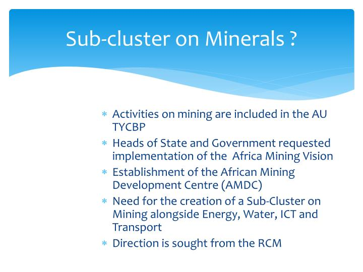 Sub-cluster on Minerals ?