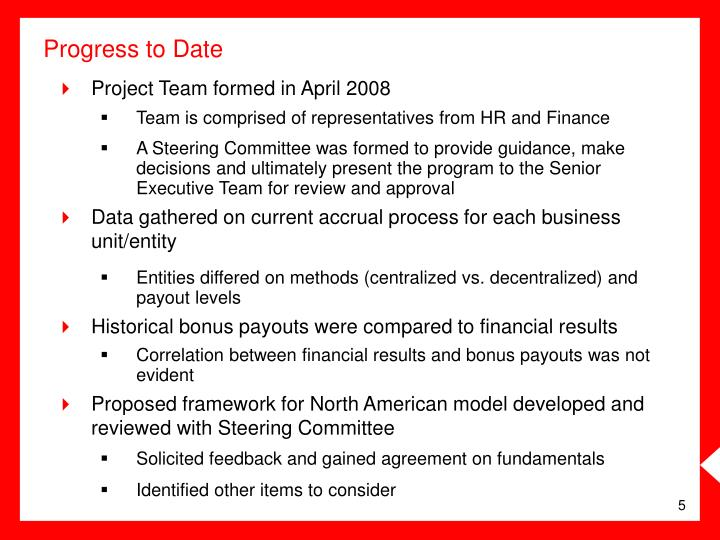 Project Team formed in April 2008