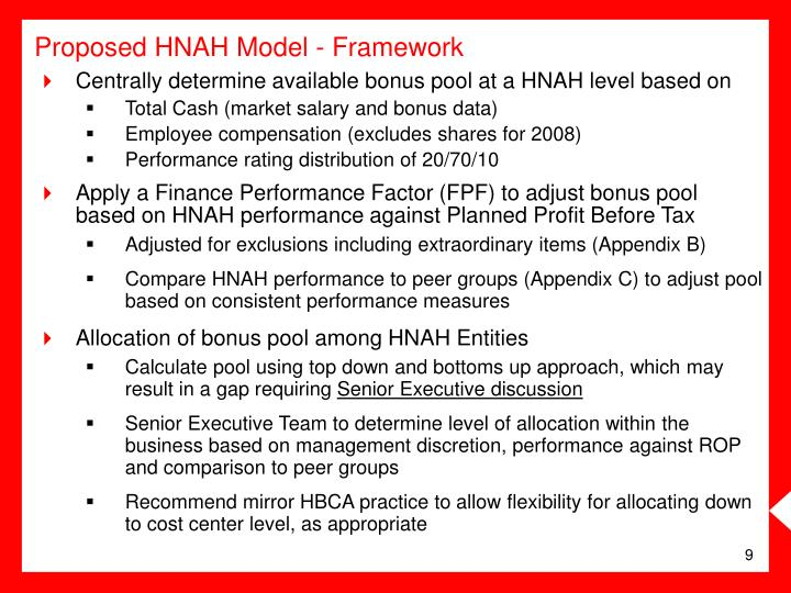 Centrally determine available bonus pool at a HNAH level based on