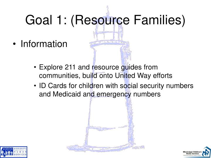 Goal 1: (Resource Families)