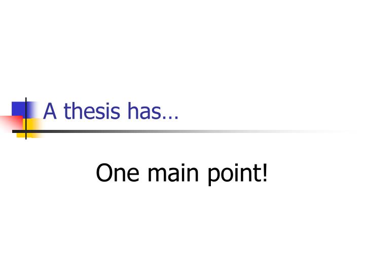 A thesis has…
