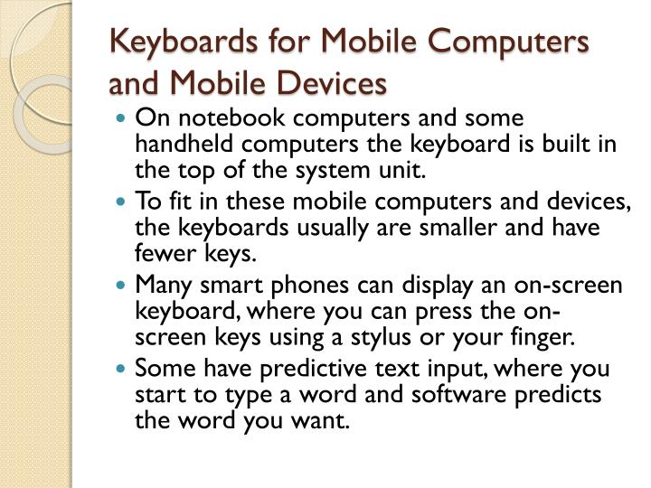 Keyboards for Mobile Computers and Mobile Devices