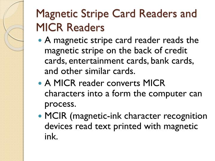 Magnetic Stripe Card Readers and MICR Readers