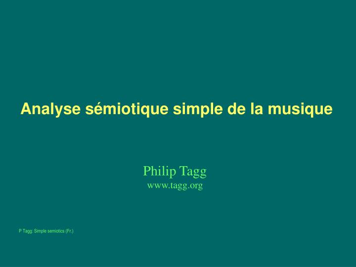 Analyse s miotique simple de la musique