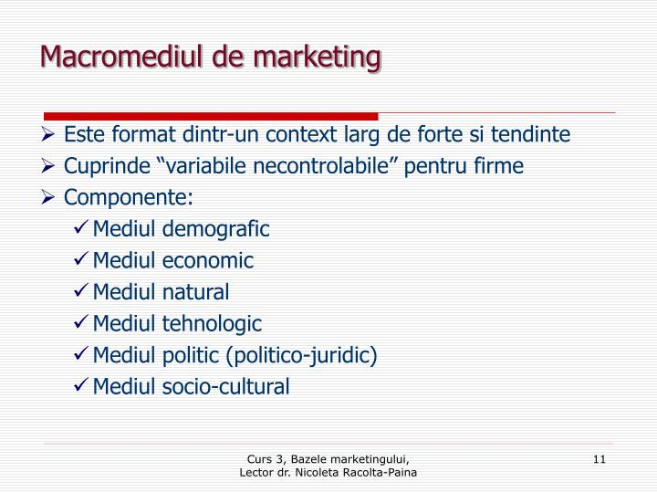 Macromediul de marketing
