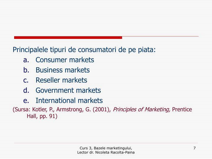 Principalele tipuri de consumatori de pe piata: