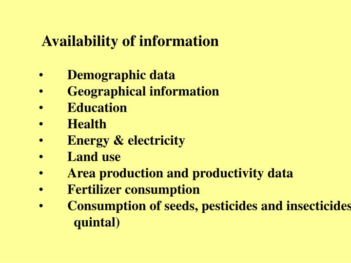 Availability of information