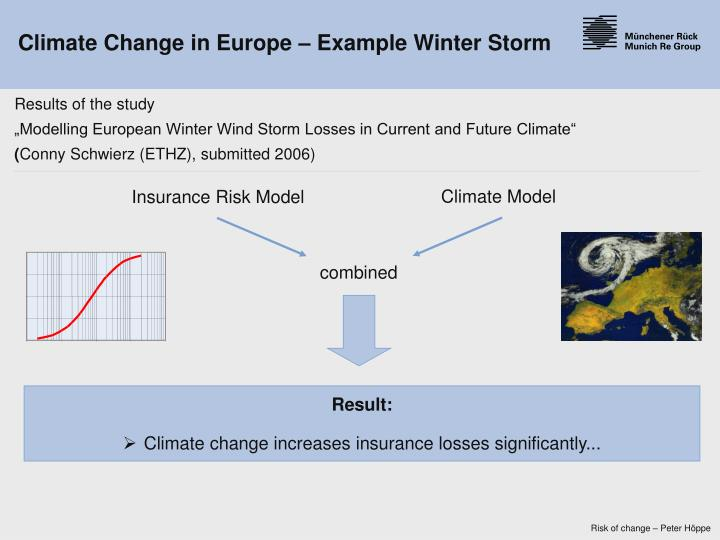 Climate Change in Europe – Example Winter Storm