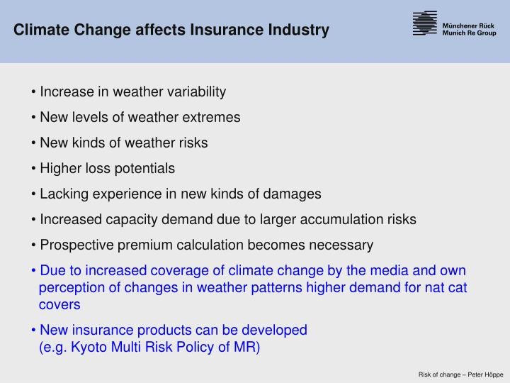 Climate Change affects Insurance Industry