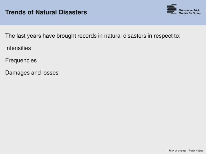 Trends of natural disasters