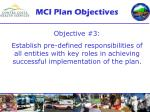 mci plan objectives2