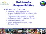 unit leader responsibilities