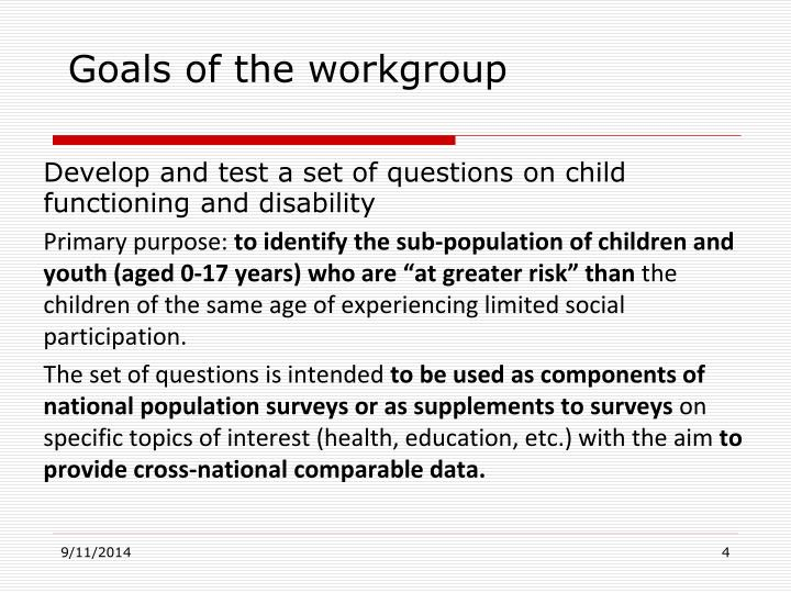 Goals of the workgroup