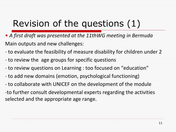 Revision of the questions (1)