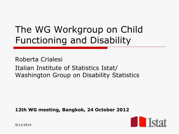 The WG Workgroup on Child Functioning and Disability