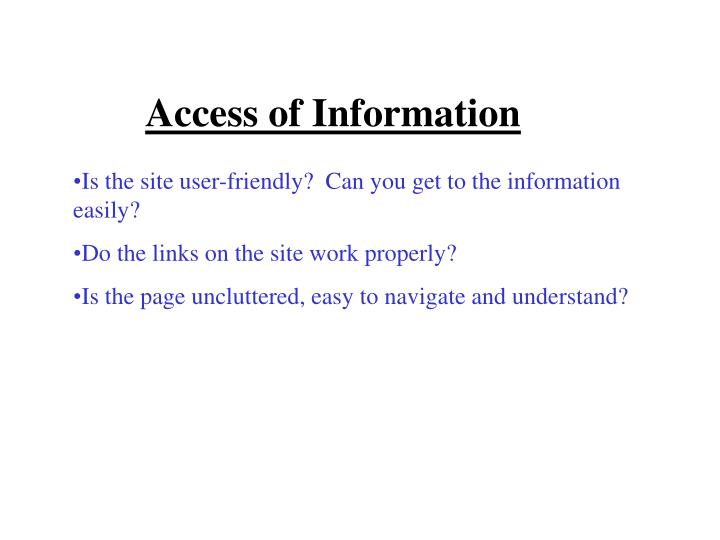 Access of Information