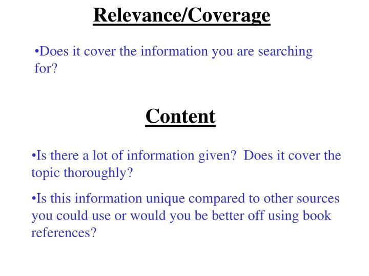 Relevance/Coverage