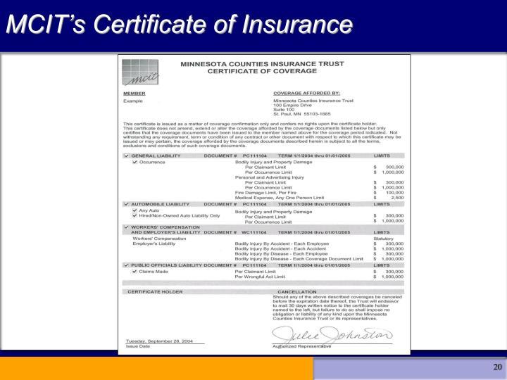 MCIT's Certificate of Insurance
