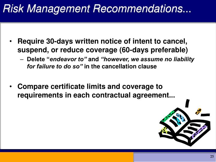 Risk Management Recommendations...
