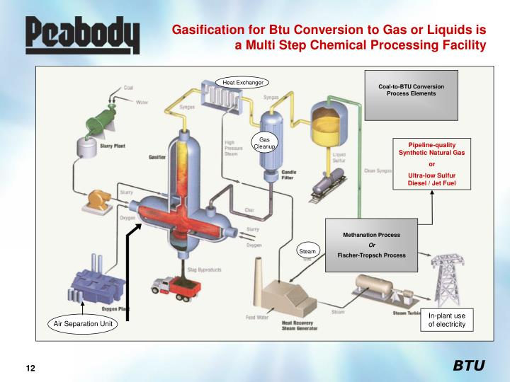 Gasification for Btu Conversion to Gas or Liquids is a Multi Step Chemical Processing Facility