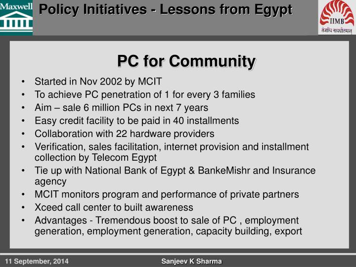 Policy Initiatives - Lessons from Egypt