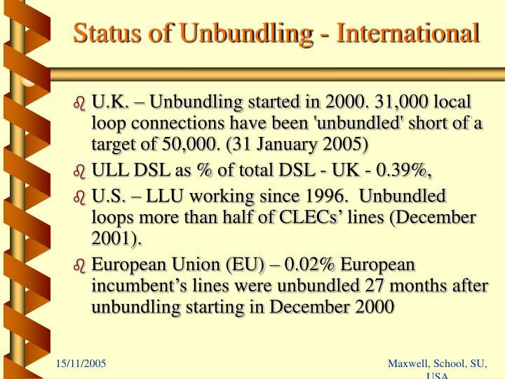 Status of Unbundling - International
