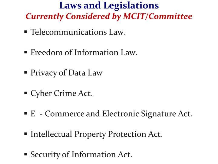 Laws and Legislations
