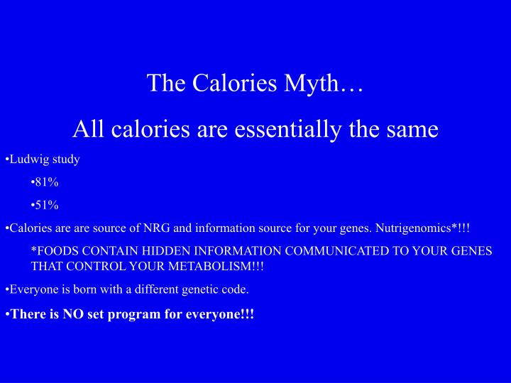 The Calories Myth…