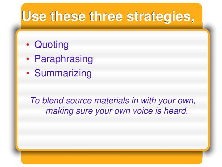Use these three strategies,