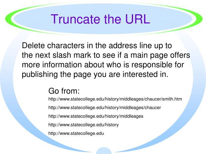 Truncate the URL