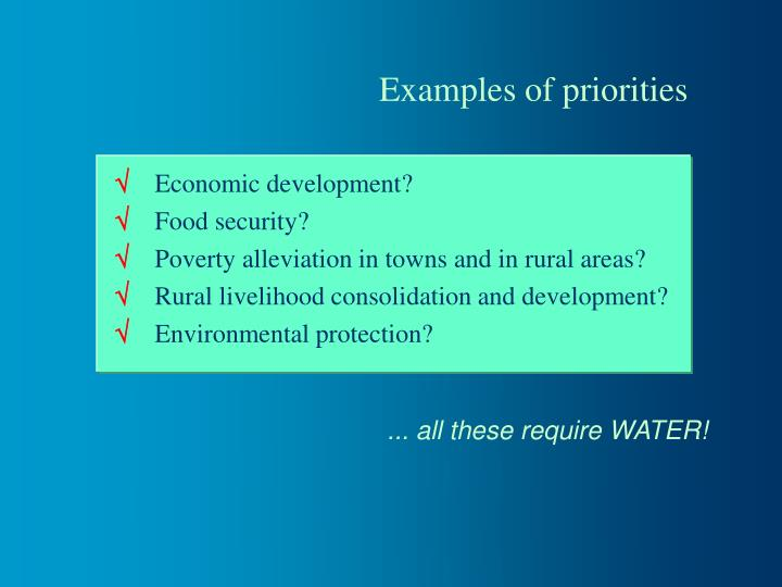 Examples of priorities