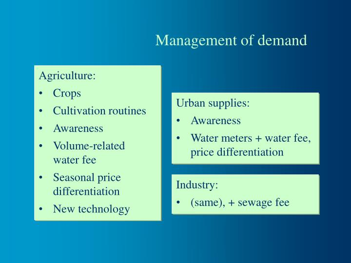 Management of demand