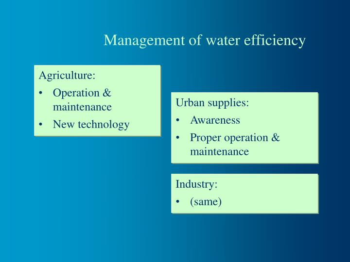 Management of water efficiency