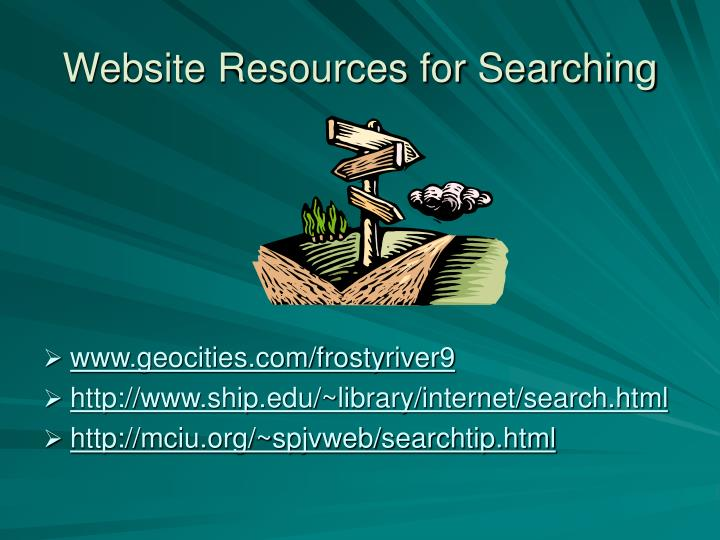 Website Resources for Searching