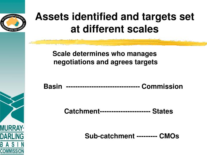 Assets identified and targets set at different scales