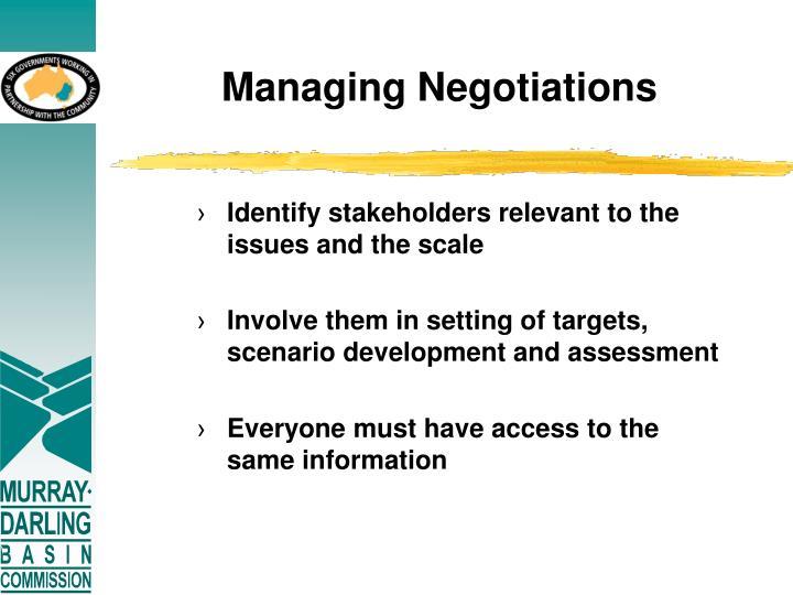 Managing Negotiations