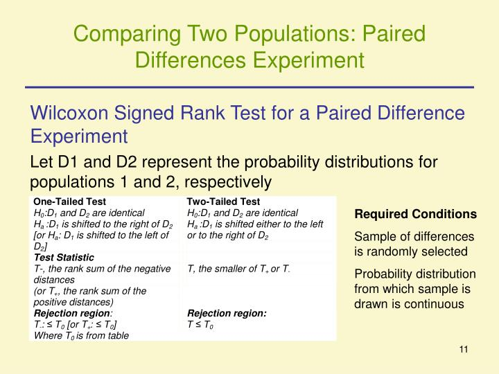 Comparing Two Populations: Paired Differences Experiment