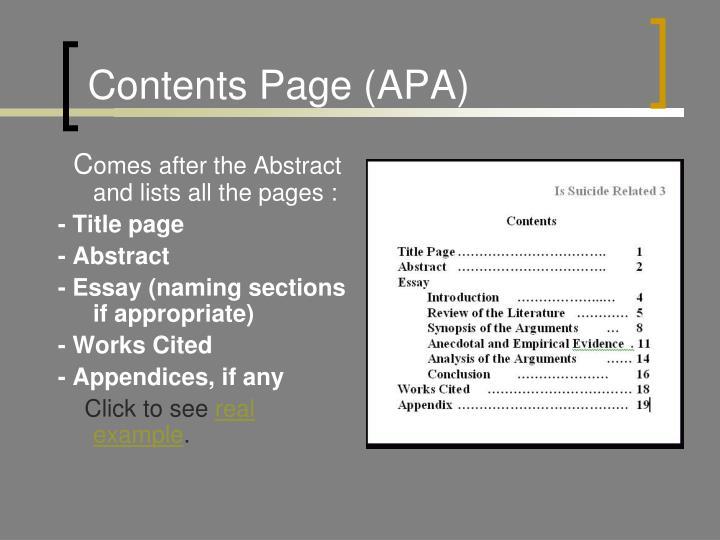 Contents Page (APA)
